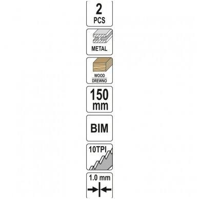 Pjūkliukai stumdomam siaurapjūkliui metalui 150mm 10TPI 2vnt. 3