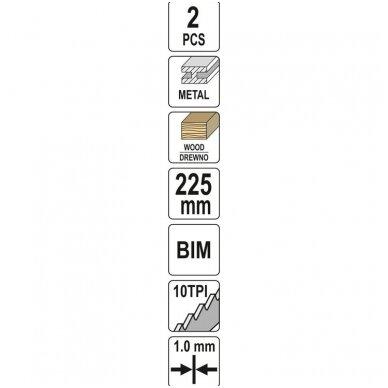 Pjūkliukai stumdomam siaurapjūkliui metalui 225mm 10TPI 2vnt. YATO 3