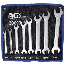 Plokščių raktų rinkinys atviru galu 6 - 22mm  8vnt. BGS