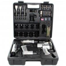 Pneumatinių įrankių rinkinys (veržliasukis, terkšlė, kaltas, šlifuoklis) 34d.