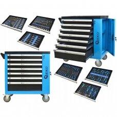 Profesionali įrankių spintelė ant ratukų 7 stalčiai 243 įrankiai