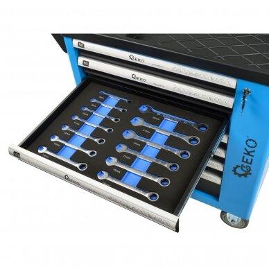 Profesionali įrankių spintelė ant ratukų 7 stalčiai 243 įrankiai 9