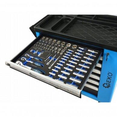 Profesionali įrankių spintelė ant ratukų 7 stalčiai 243 įrankiai 7