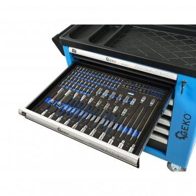 Profesionali įrankių spintelė ant ratukų 7 stalčiai 243 įrankiai 8
