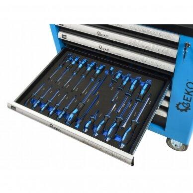 Profesionali įrankių spintelė ant ratukų 7 stalčiai 243 įrankiai 10