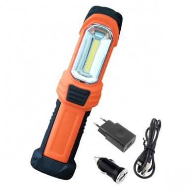 Prožektorius darbui COB 3W + LED 1W pakraunamas su automobiliniu 12V adapteriu