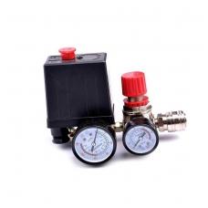Reguliatorius kompresoriui su slėgio jungikliu ir manometrais 230V