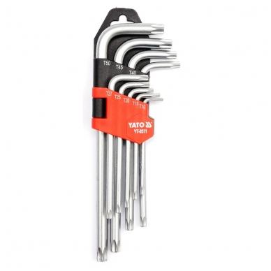 Šešiakampių raktų komplektas TORX 9 dalių T10-T50
