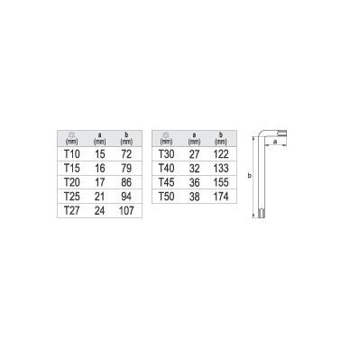Šešiakampių raktų komplektas TORX 9 dalių T10-T50 2