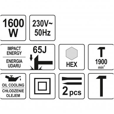 Smūginis griovimo plaktukas 65J 1600W YATO 6