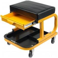 Mechaniko kėdutė su ratukais ir stalčiumi (stačiakampė) Vorel