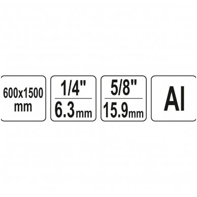 """Stovas trikojis, aliuminis 0,6-1,5m (1/4""""+5/8"""") YATO 5"""