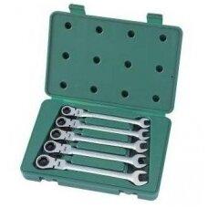 Terkšliniai kombinuoti raktai su lanksčia galva SATA 5vnt. (10-14mm)