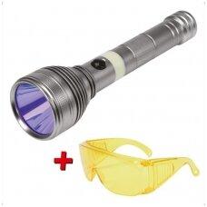 UV žibintuvėlis akumuliatorinis LI-ION 3.7V 1500mAh + akiniai