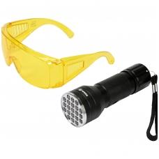 UV žibintuvėlis ir akiniai kondicionavimo sistemos nuotėkio aptikimui